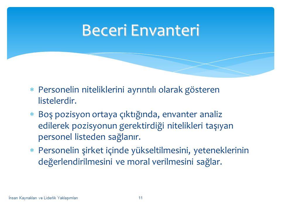 Beceri Envanteri Personelin niteliklerini ayrıntılı olarak gösteren listelerdir.