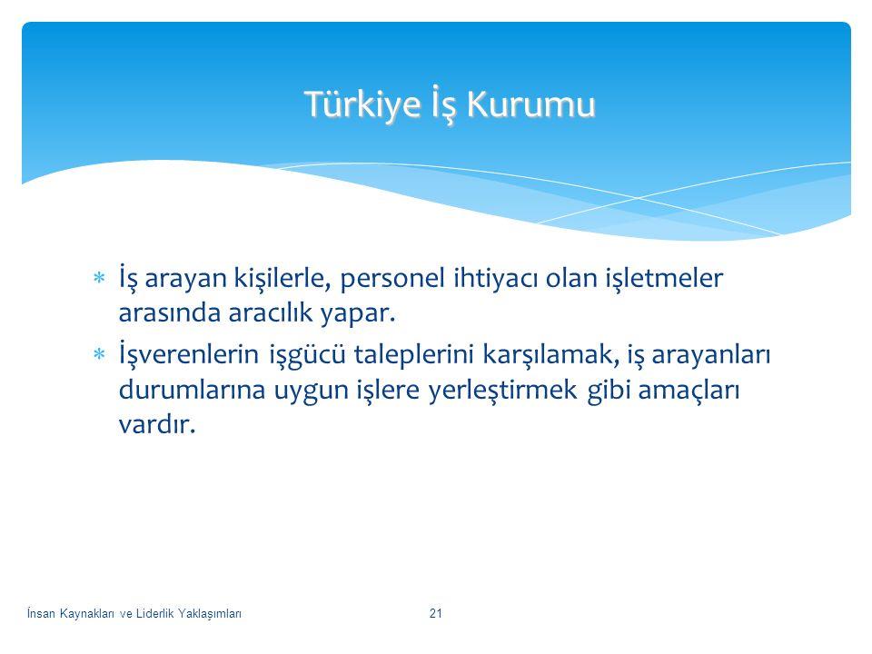 Türkiye İş Kurumu İş arayan kişilerle, personel ihtiyacı olan işletmeler arasında aracılık yapar.