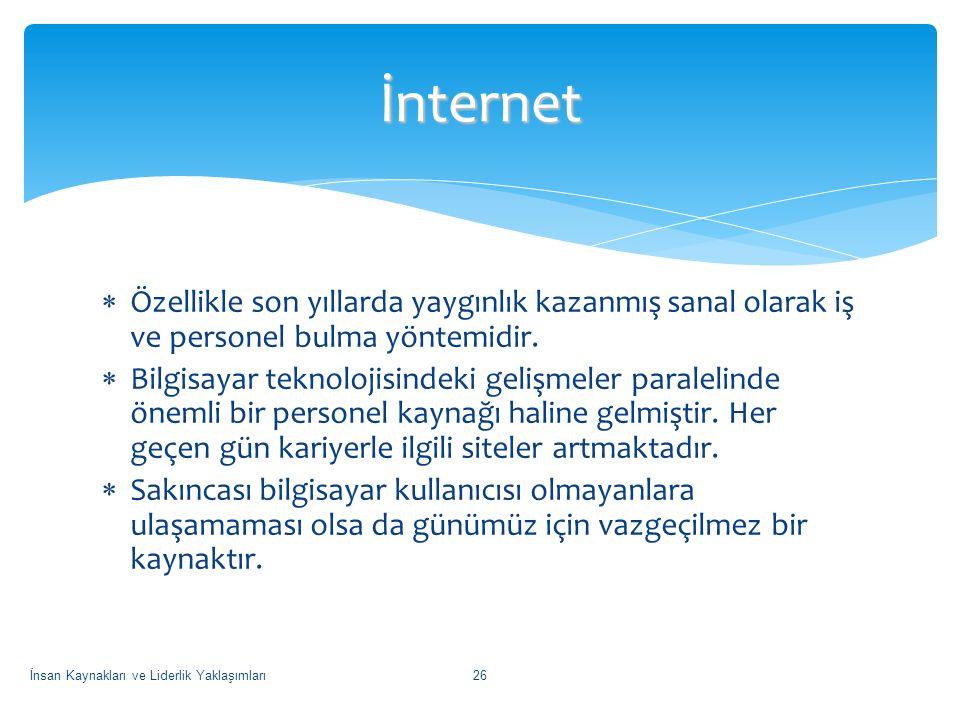 İnternet Özellikle son yıllarda yaygınlık kazanmış sanal olarak iş ve personel bulma yöntemidir.