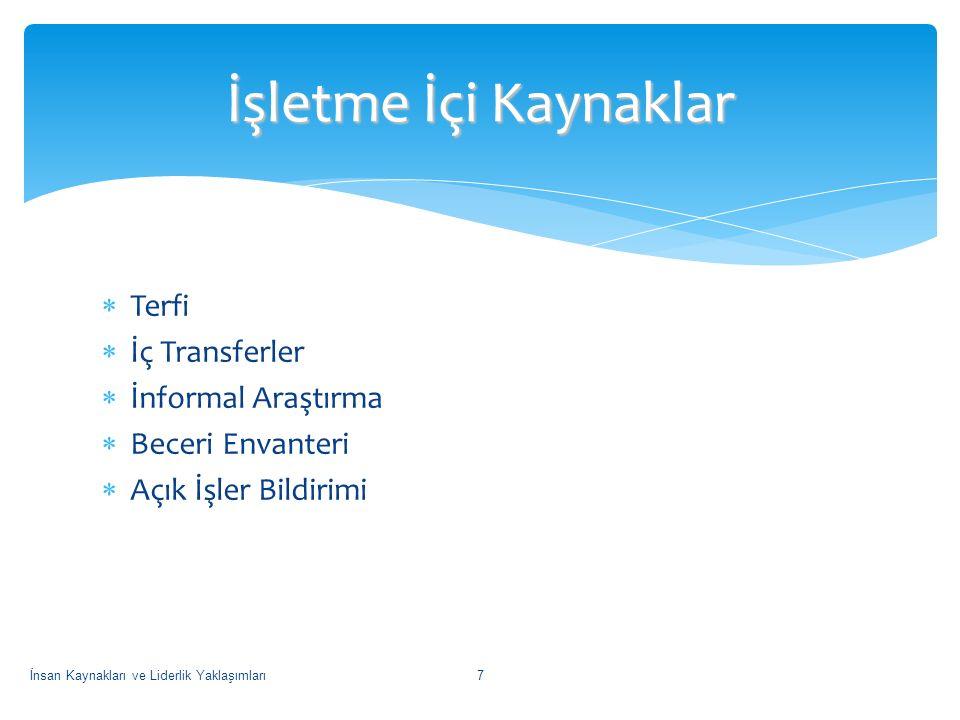 İşletme İçi Kaynaklar Terfi İç Transferler İnformal Araştırma