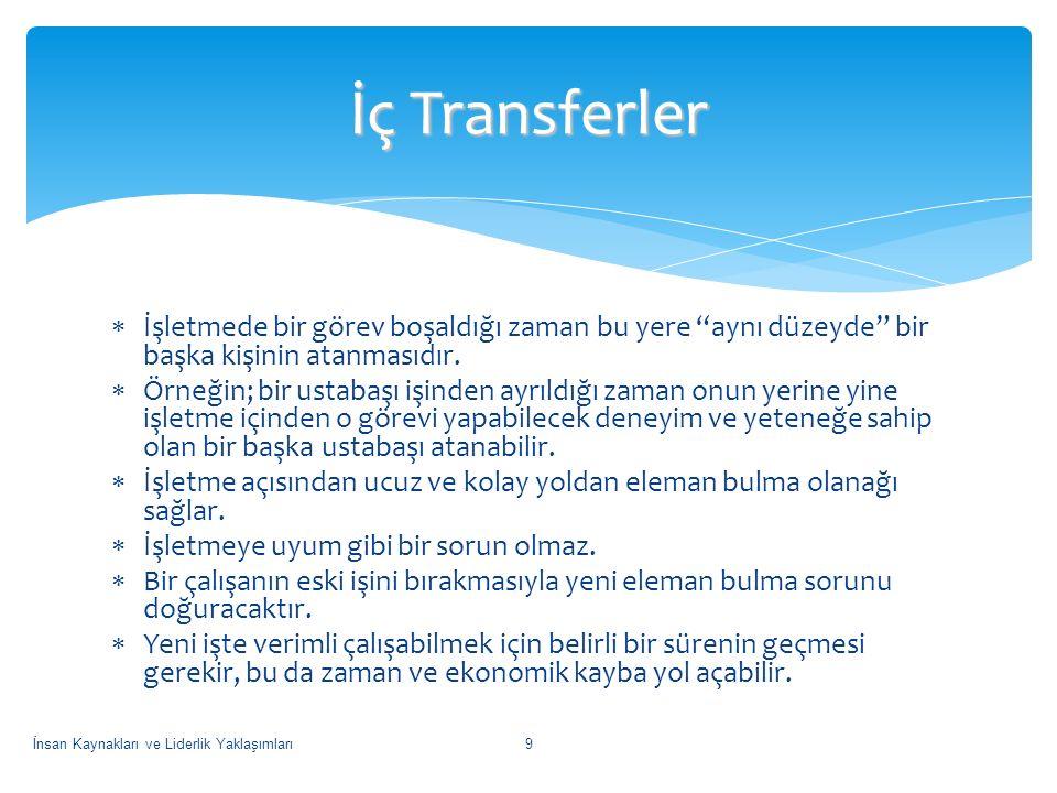 İç Transferler İşletmede bir görev boşaldığı zaman bu yere aynı düzeyde bir başka kişinin atanmasıdır.