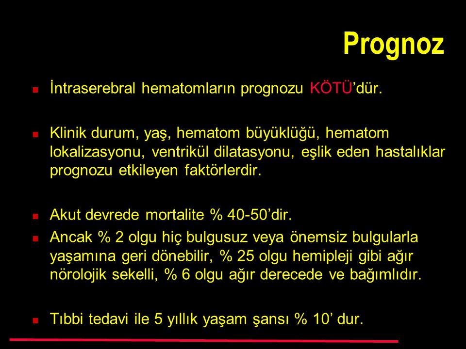 Prognoz İntraserebral hematomların prognozu KÖTÜ'dür.