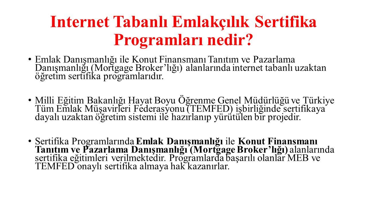 Internet Tabanlı Emlakçılık Sertifika Programları nedir