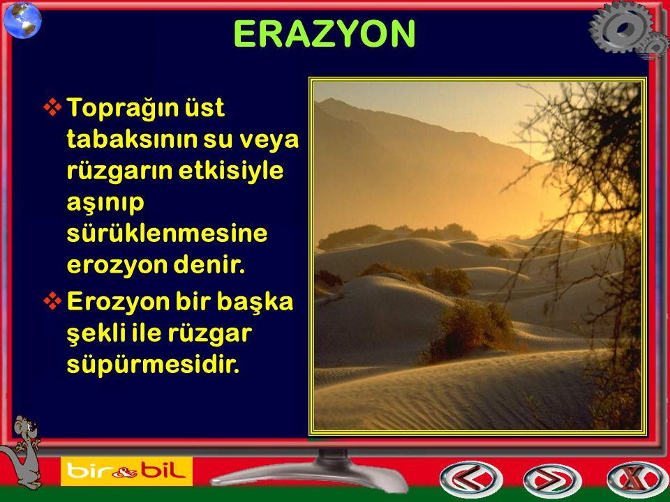 ERAZYON Toprağın üst tabaksının su veya rüzgarın etkisiyle aşınıp sürüklenmesine erozyon denir.