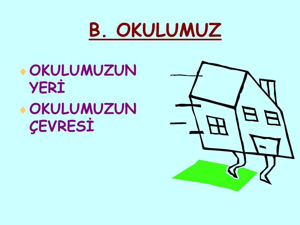 B. OKULUMUZ OKULUMUZUN YERİ OKULUMUZUN ÇEVRESİ BİR & BİL