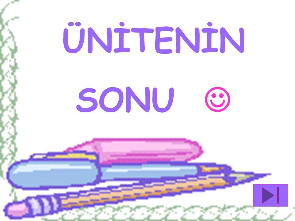 ÜNİTENİN SONU  BİR & BİL