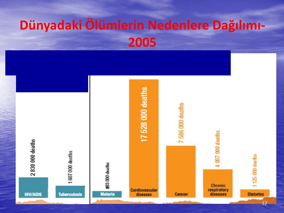 Dünyadaki Ölümlerin Nedenlere Dağılımı-2005