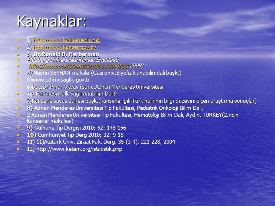 Kaynaklar: 1) http://www.kansernedir.net 2) http://www.kanser.gov.tr/