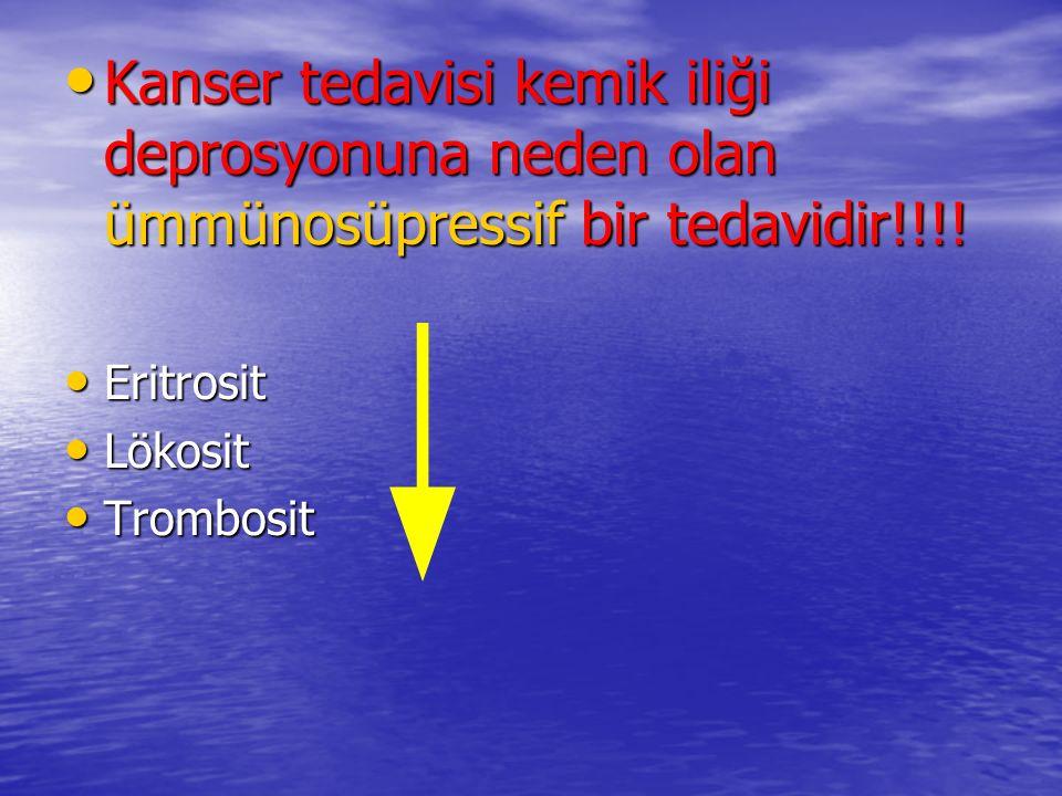 Kanser tedavisi kemik iliği deprosyonuna neden olan ümmünosüpressif bir tedavidir!!!!