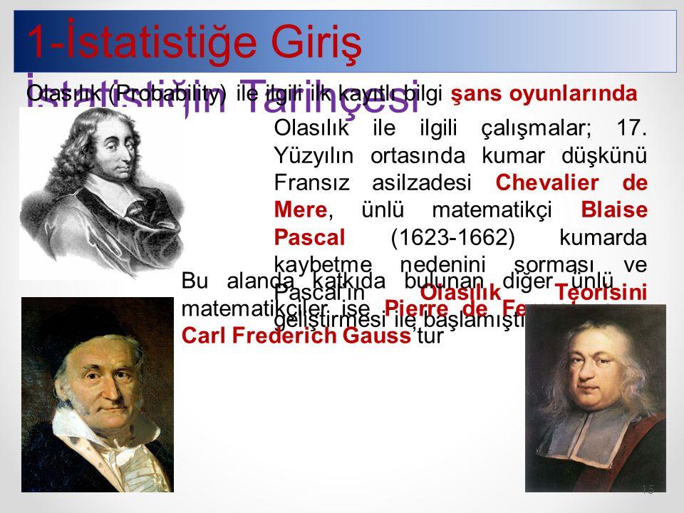 1-İstatistiğe Giriş İstatistiğin Tarihçesi