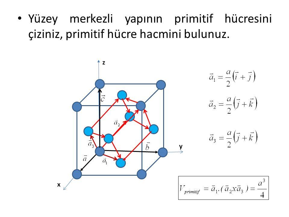 Yüzey merkezli yapının primitif hücresini çiziniz, primitif hücre hacmini bulunuz.