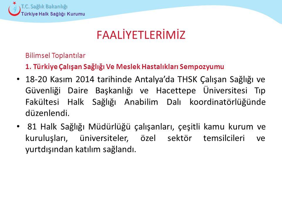 FAALİYETLERİMİZ Bilimsel Toplantılar. 1. Türkiye Çalışan Sağlığı Ve Meslek Hastalıkları Sempozyumu.