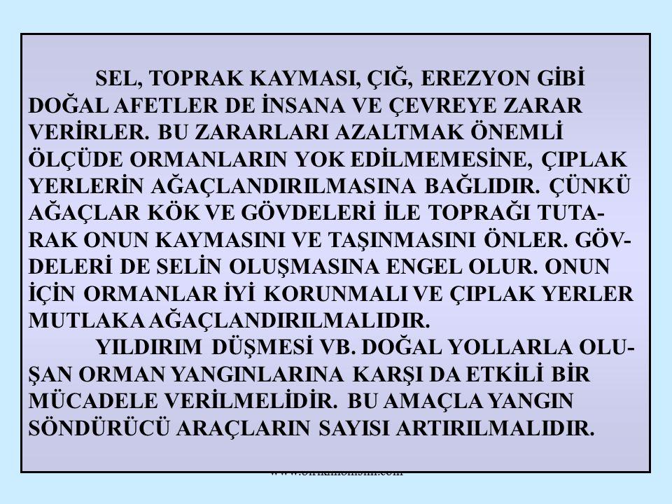 SEL, TOPRAK KAYMASI, ÇIĞ, EREZYON GİBİ