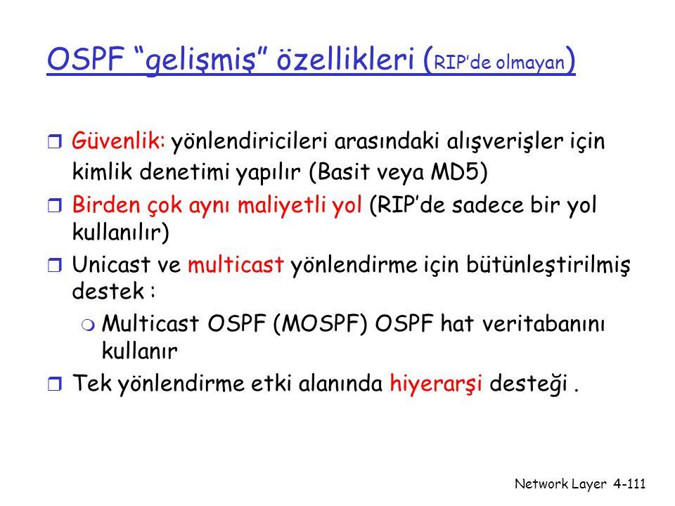 OSPF gelişmiş özellikleri (RIP'de olmayan)