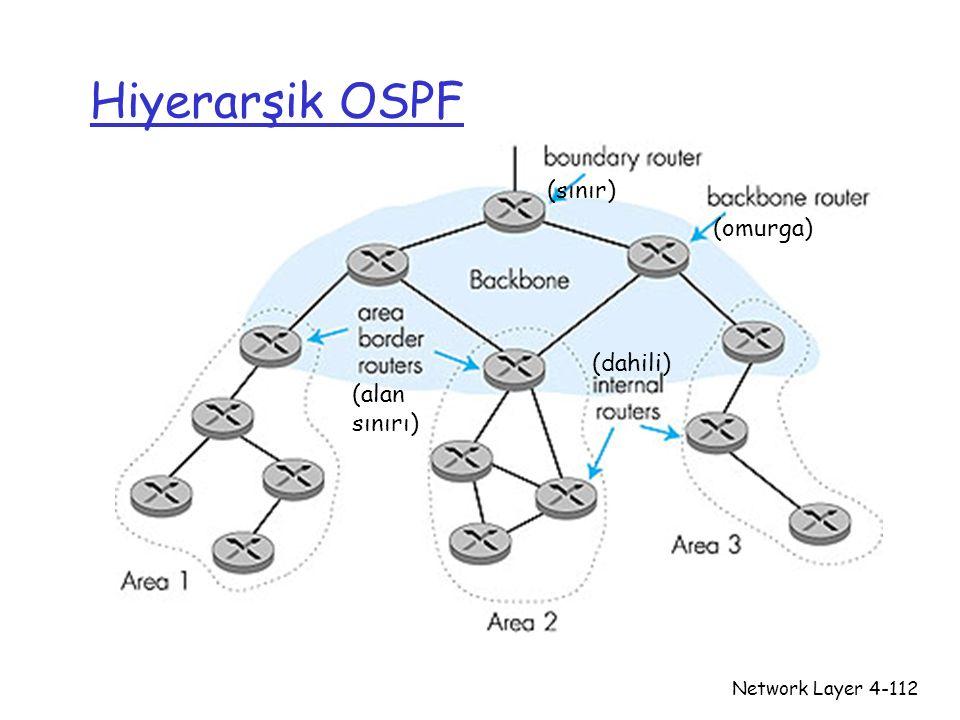 Hiyerarşik OSPF (sınır) (omurga) (dahili) (alan sınırı) Network Layer