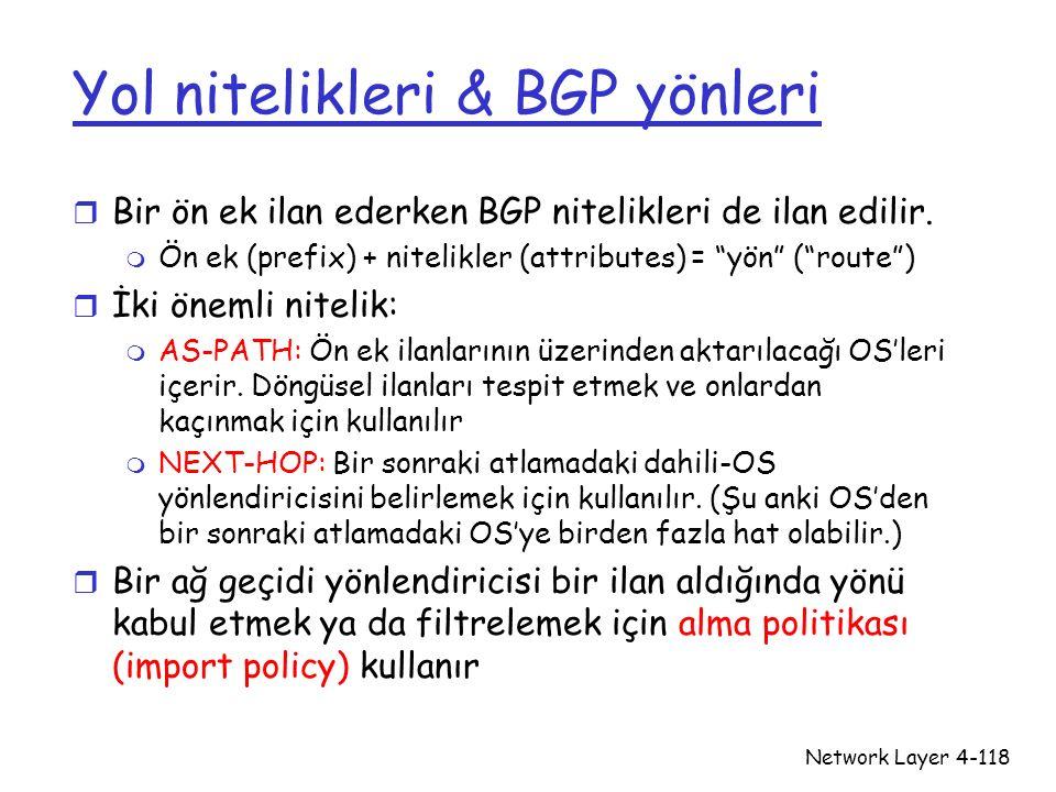 Yol nitelikleri & BGP yönleri