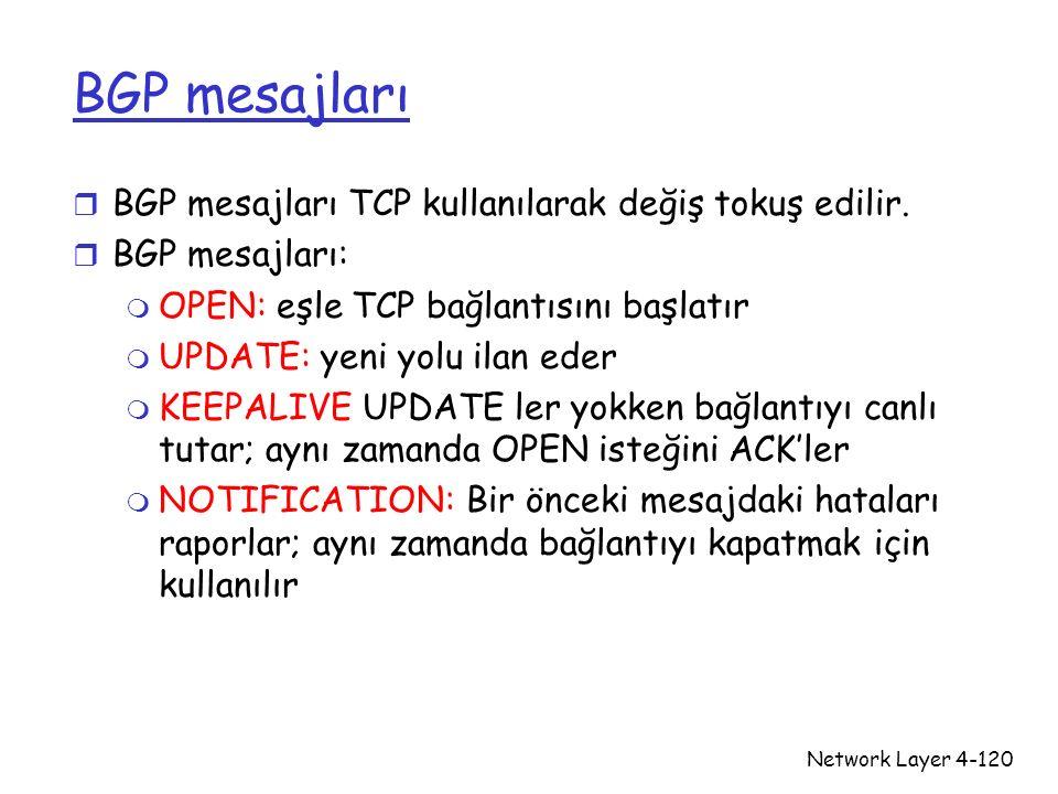 BGP mesajları BGP mesajları TCP kullanılarak değiş tokuş edilir.