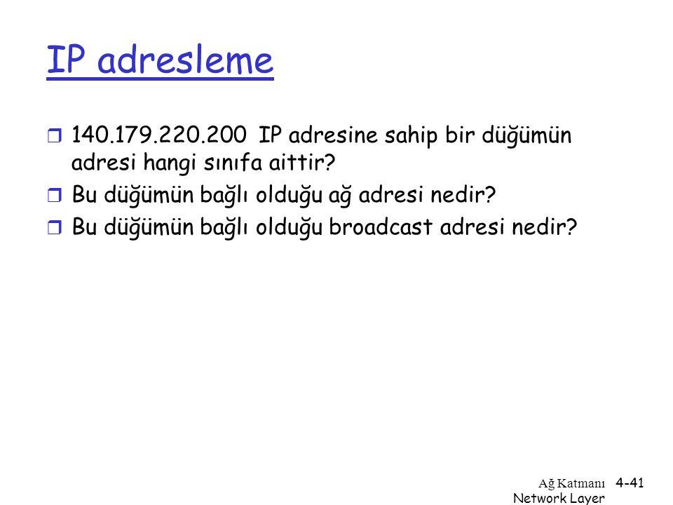 IP adresleme 140.179.220.200 IP adresine sahip bir düğümün adresi hangi sınıfa aittir Bu düğümün bağlı olduğu ağ adresi nedir