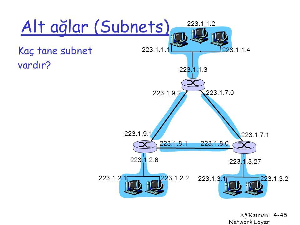 Alt ağlar (Subnets) Kaç tane subnet vardır 223.1.1.2 223.1.1.1