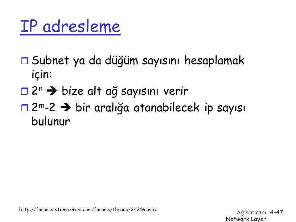 IP adresleme Subnet ya da düğüm sayısını hesaplamak için: