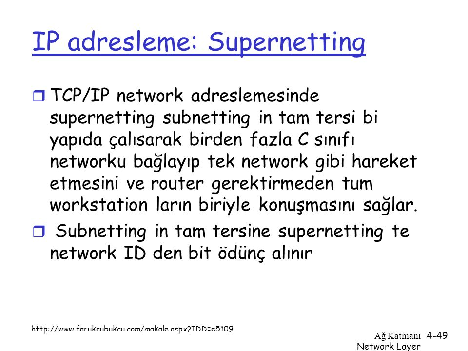 IP adresleme: Supernetting