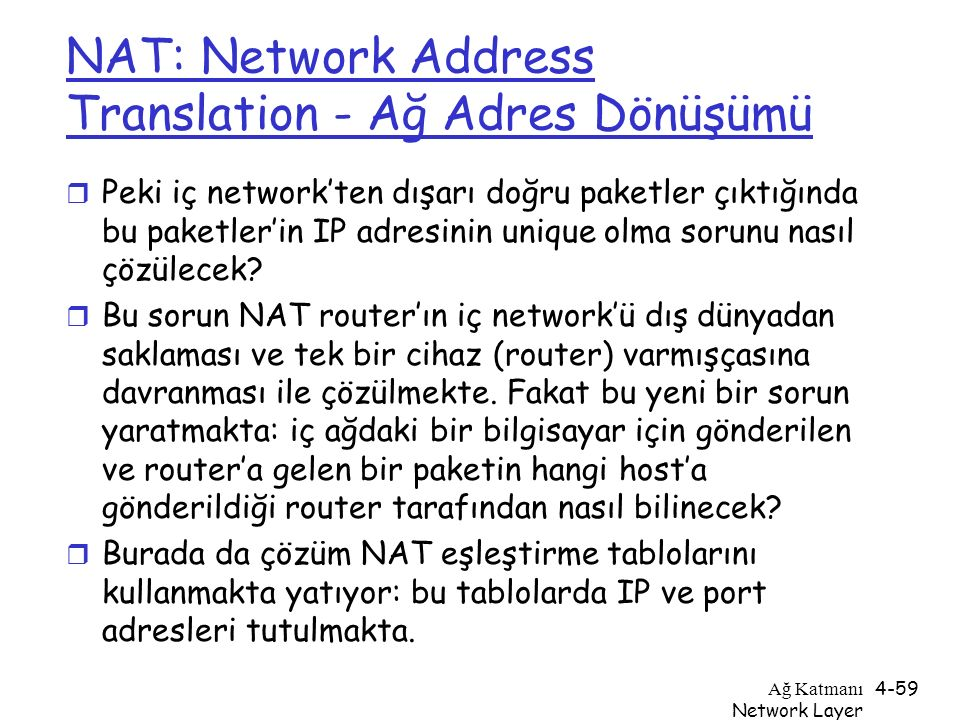 NAT: Network Address Translation - Ağ Adres Dönüşümü