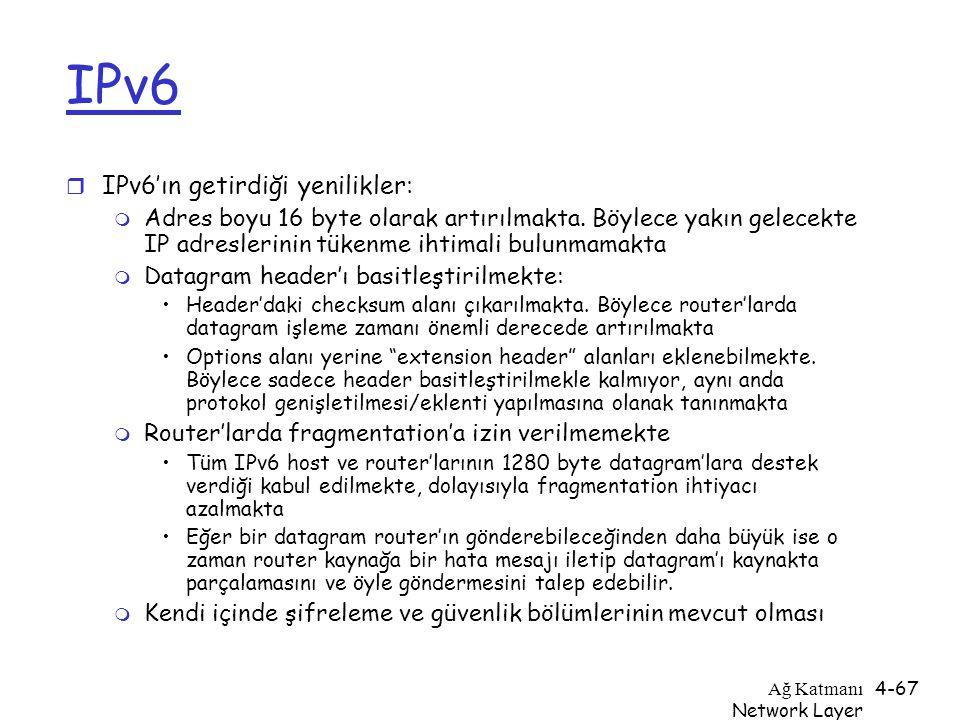 IPv6 IPv6'ın getirdiği yenilikler: