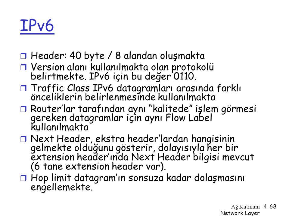 IPv6 Header: 40 byte / 8 alandan oluşmakta