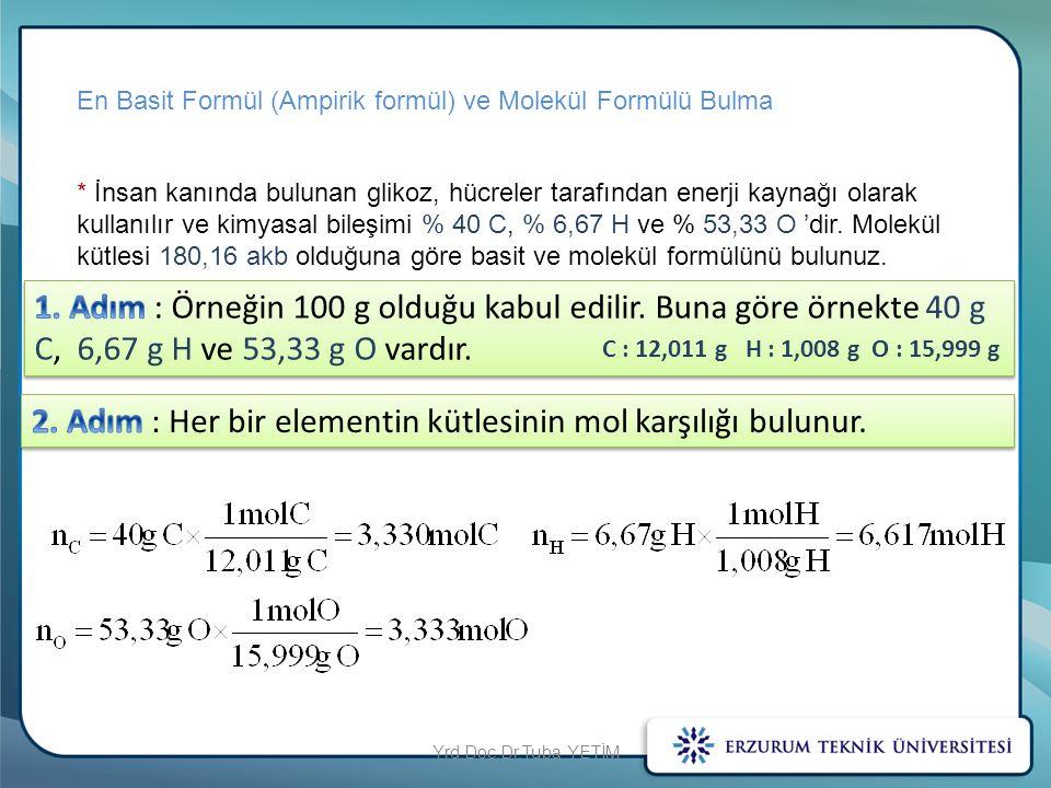 2. Adım : Her bir elementin kütlesinin mol karşılığı bulunur.