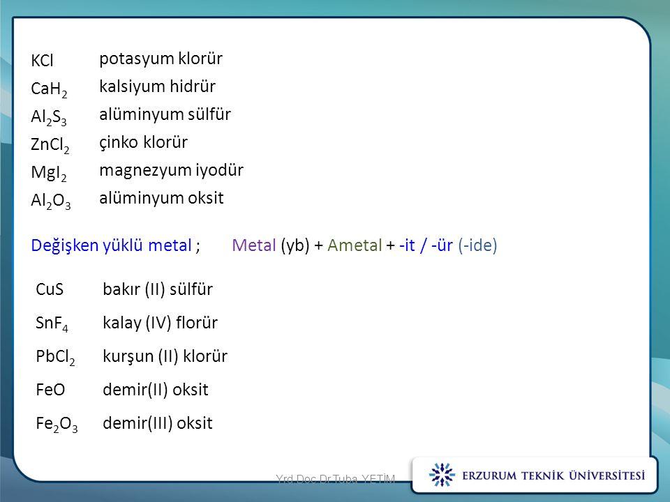 Değişken yüklü metal ; Metal (yb) + Ametal + -it / -ür (-ide)