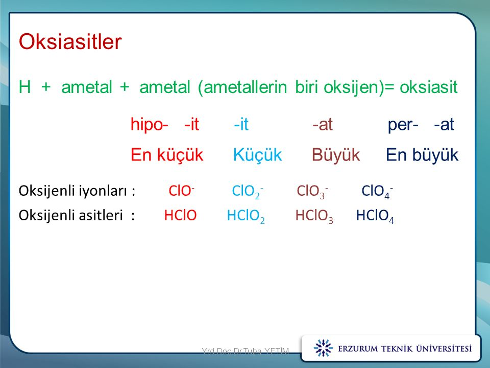 Oksiasitler H + ametal + ametal (ametallerin biri oksijen)= oksiasit