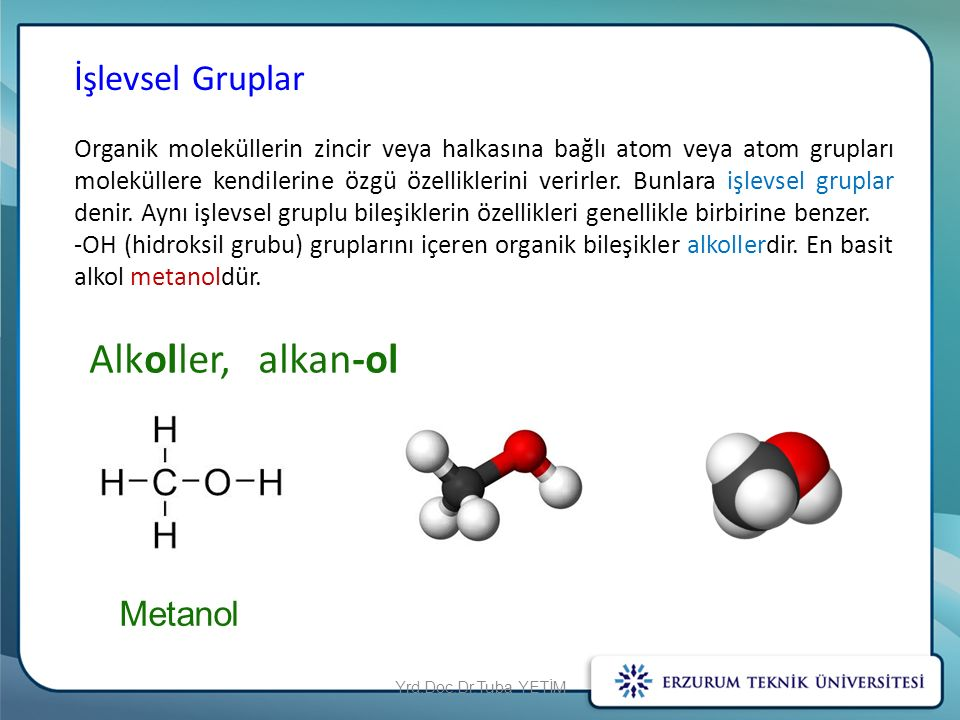 Alkoller, alkan-ol İşlevsel Gruplar Metanol