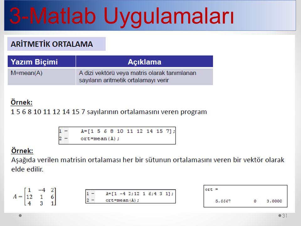 3-Matlab Uygulamaları