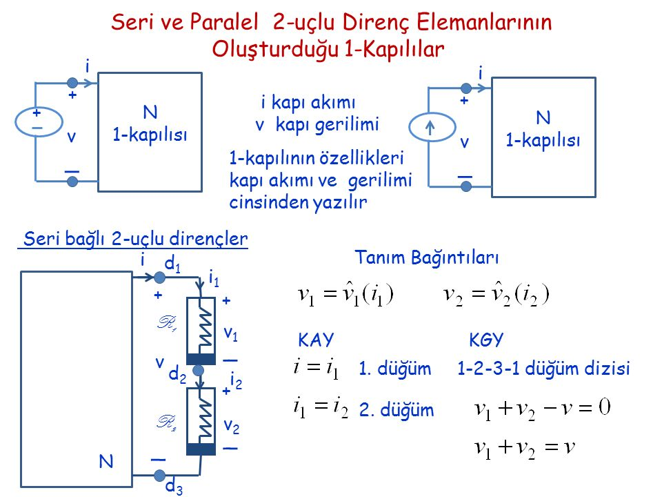 Seri ve Paralel 2-uçlu Direnç Elemanlarının Oluşturduğu 1-Kapılılar