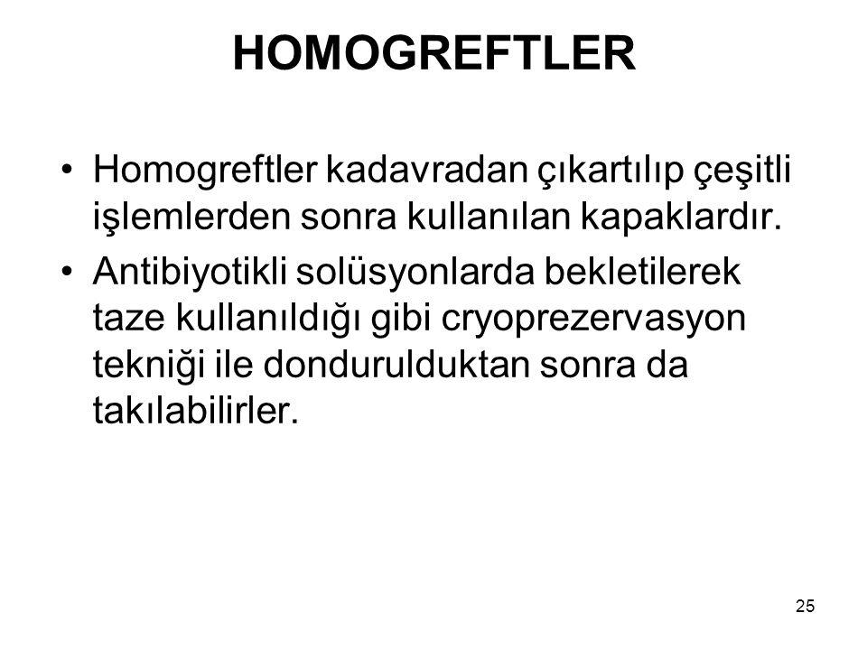 HOMOGREFTLER Homogreftler kadavradan çıkartılıp çeşitli işlemlerden sonra kullanılan kapaklardır.