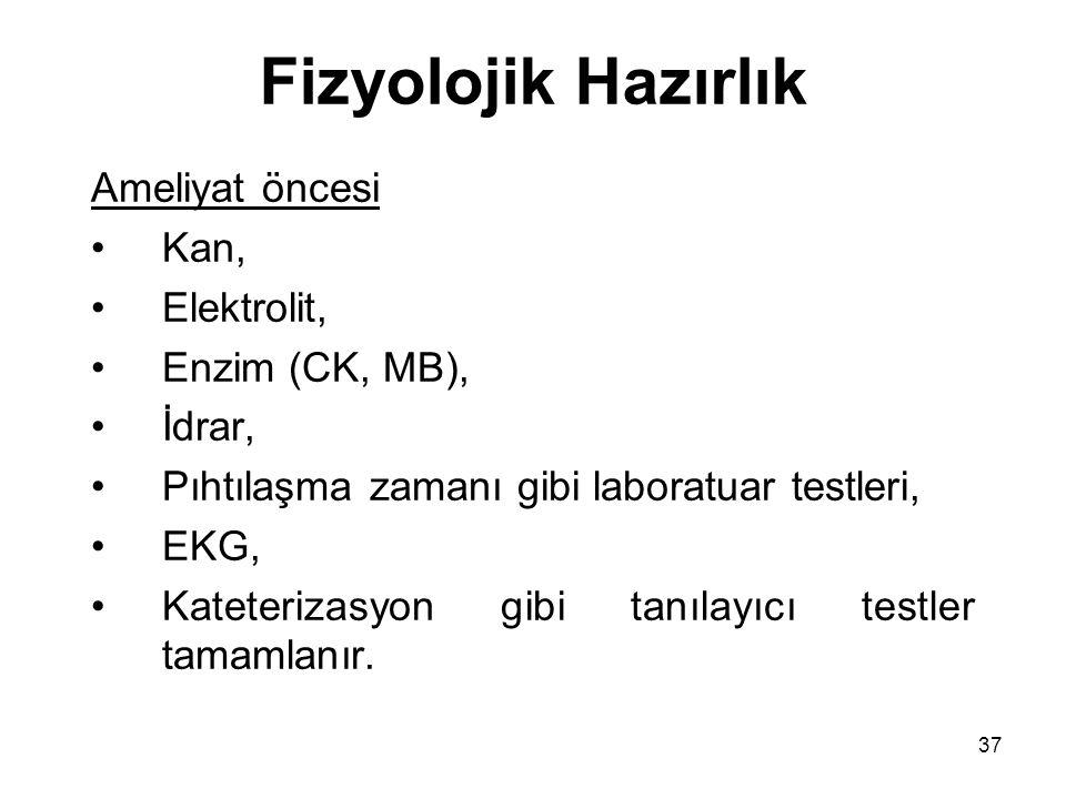 Fizyolojik Hazırlık Ameliyat öncesi Kan, Elektrolit, Enzim (CK, MB),