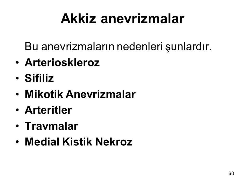 Akkiz anevrizmalar Bu anevrizmaların nedenleri şunlardır.