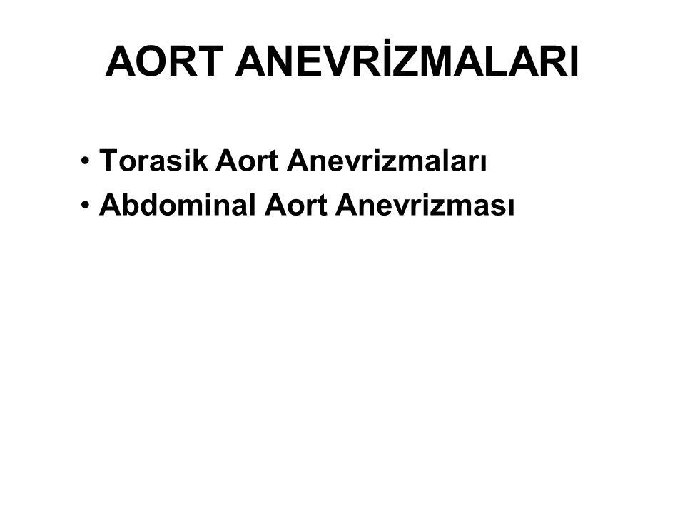 Torasik Aort Anevrizmaları Abdominal Aort Anevrizması