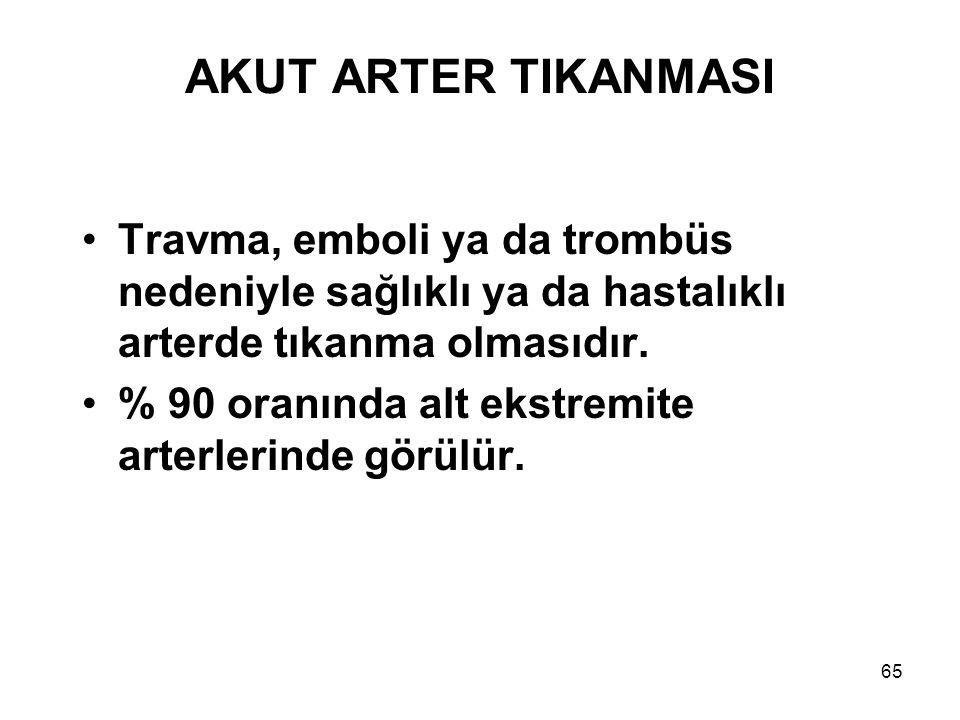 AKUT ARTER TIKANMASI Travma, emboli ya da trombüs nedeniyle sağlıklı ya da hastalıklı arterde tıkanma olmasıdır.