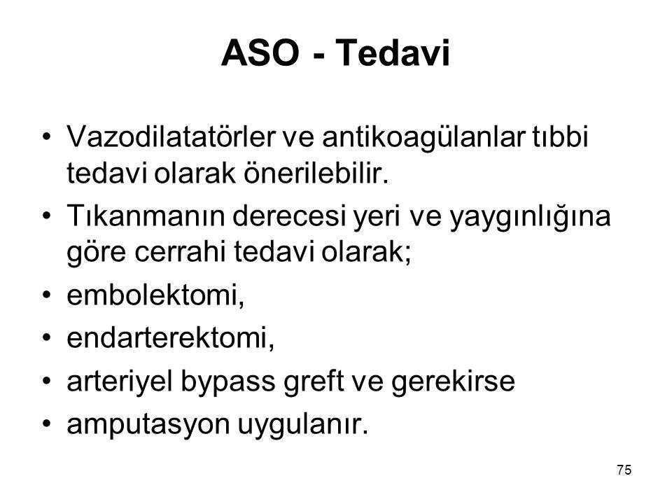 ASO - Tedavi Vazodilatatörler ve antikoagülanlar tıbbi tedavi olarak önerilebilir.