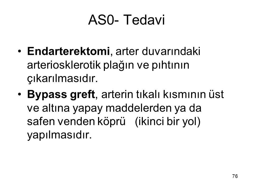 AS0- Tedavi Endarterektomi, arter duvarındaki arteriosklerotik plağın ve pıhtının çıkarılmasıdır.