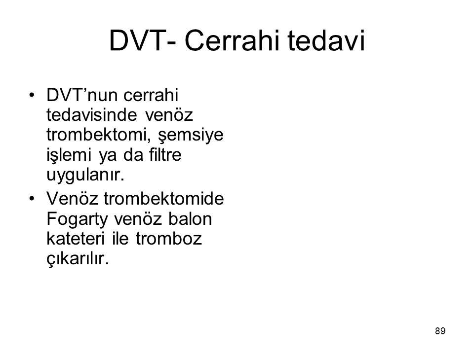 DVT- Cerrahi tedavi DVT'nun cerrahi tedavisinde venöz trombektomi, şemsiye işlemi ya da filtre uygulanır.