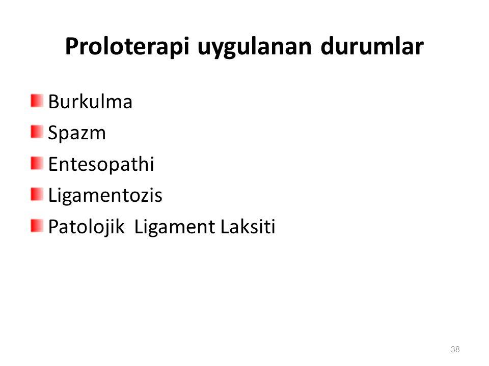 Proloterapi uygulanan durumlar