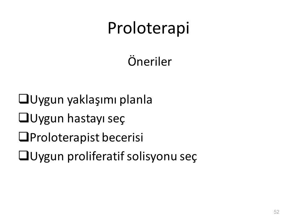 Proloterapi Öneriler Uygun yaklaşımı planla Uygun hastayı seç