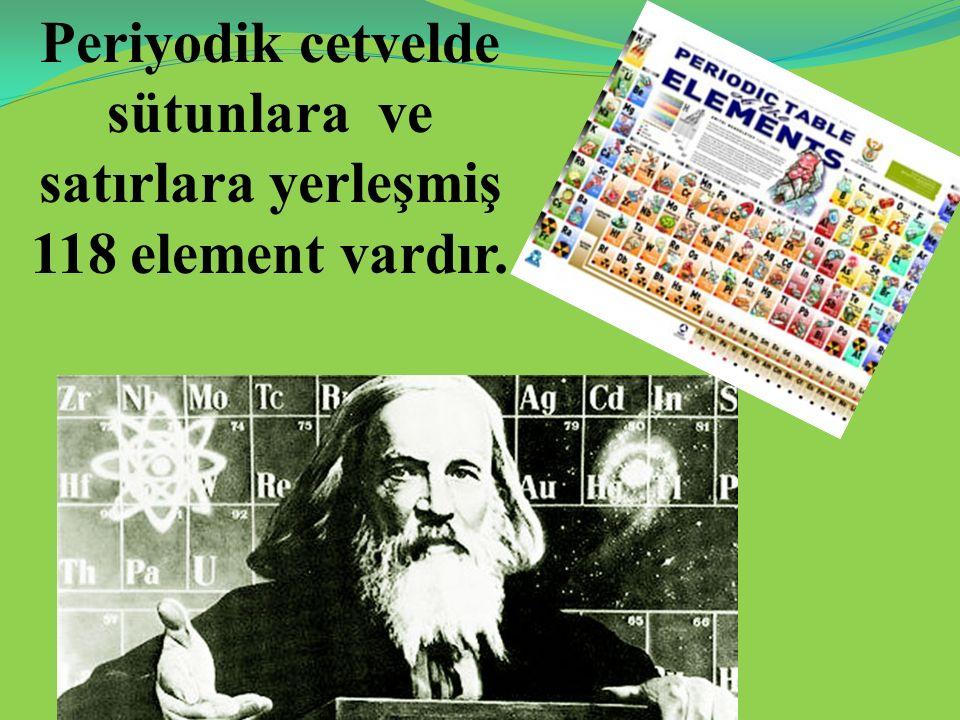 Periyodik cetvelde sütunlara ve satırlara yerleşmiş 118 element vardır.