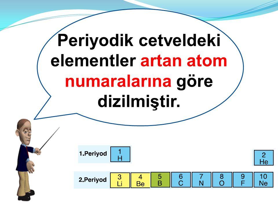 df Periyodik cetveldeki elementler artan atom numaralarına göre dizilmiştir.
