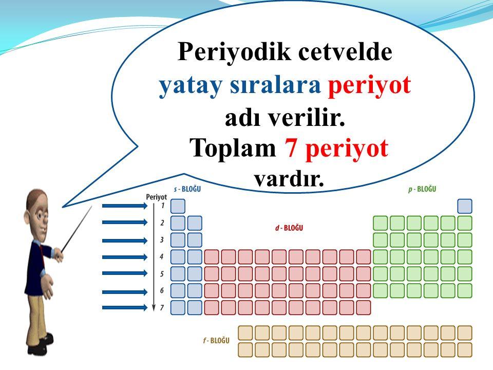 Periyodik cetvelde yatay sıralara periyot adı verilir.
