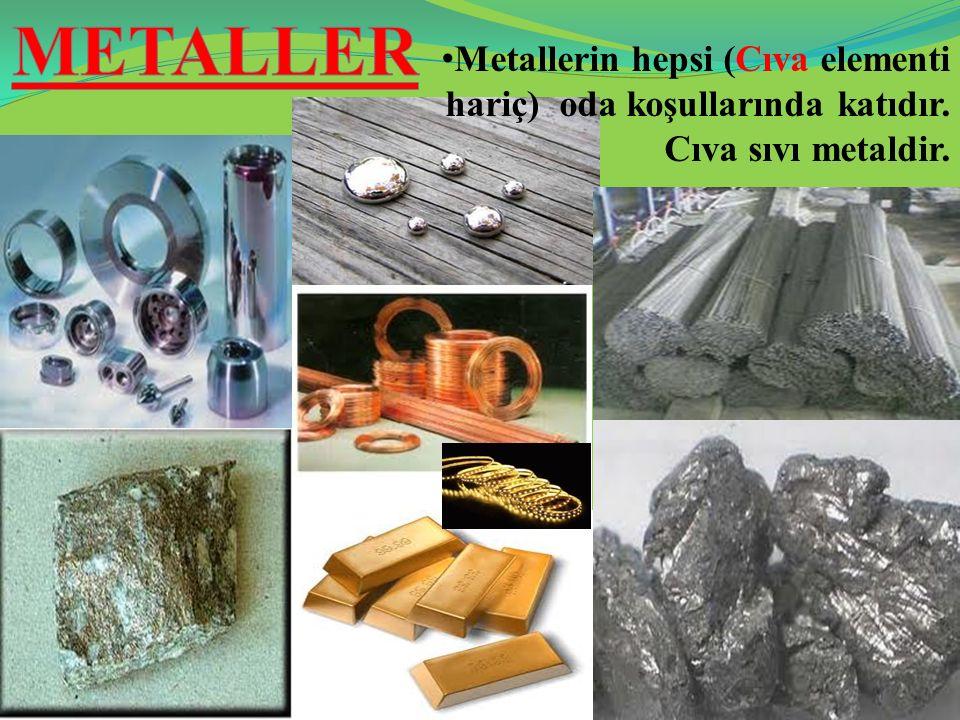 METALLER Metallerin hepsi (Cıva elementi hariç) oda koşullarında katıdır. Cıva sıvı metaldir.