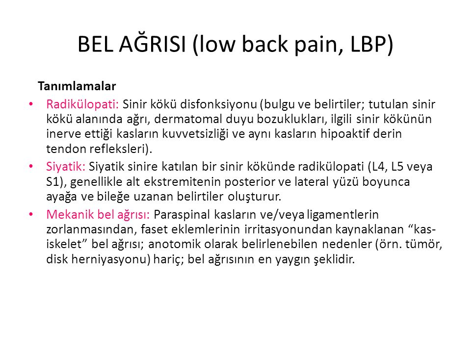 BEL AĞRISI (low back pain, LBP)