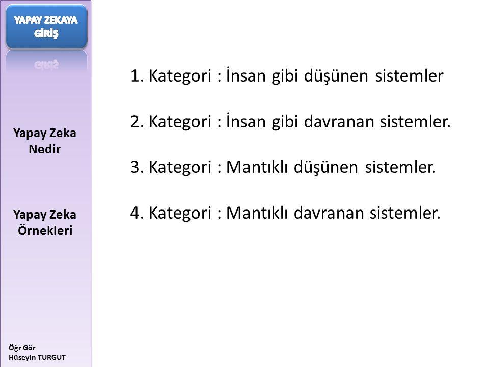 Kategori : İnsan gibi düşünen sistemler